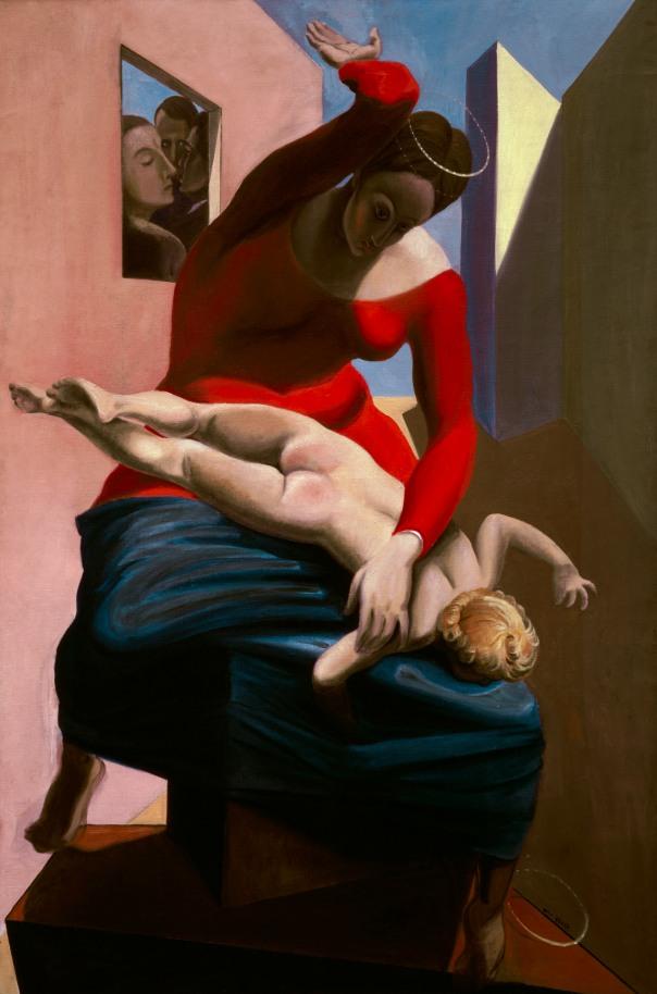 Marx Ernst, 'La Vierge corrigeant l'Enfant Jésus devant trois témoins: André Breton, Paul Eluard et le peintre,' 1926
