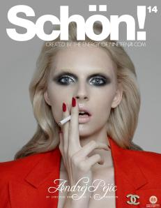 Andrej Pejic, on the cover of Schon magazine