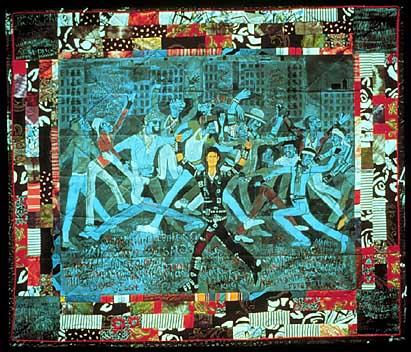 Moonwalking across the Point de Capiton (Who's Bad? (1988) Faith Ringgold Faithringgold.com)